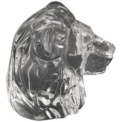 Baccarat Crystal Lion Head Paper Weight