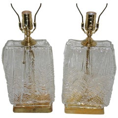 "Moderne ""Ice"" Glass Lamps"