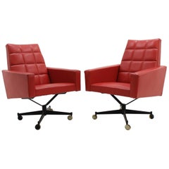 Two Leatherette Swivel Armchairs, 1970s