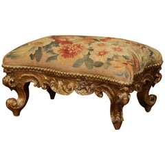 19th Century French Rococo Carved Giltwood Footstool with Aubusson Tapestry