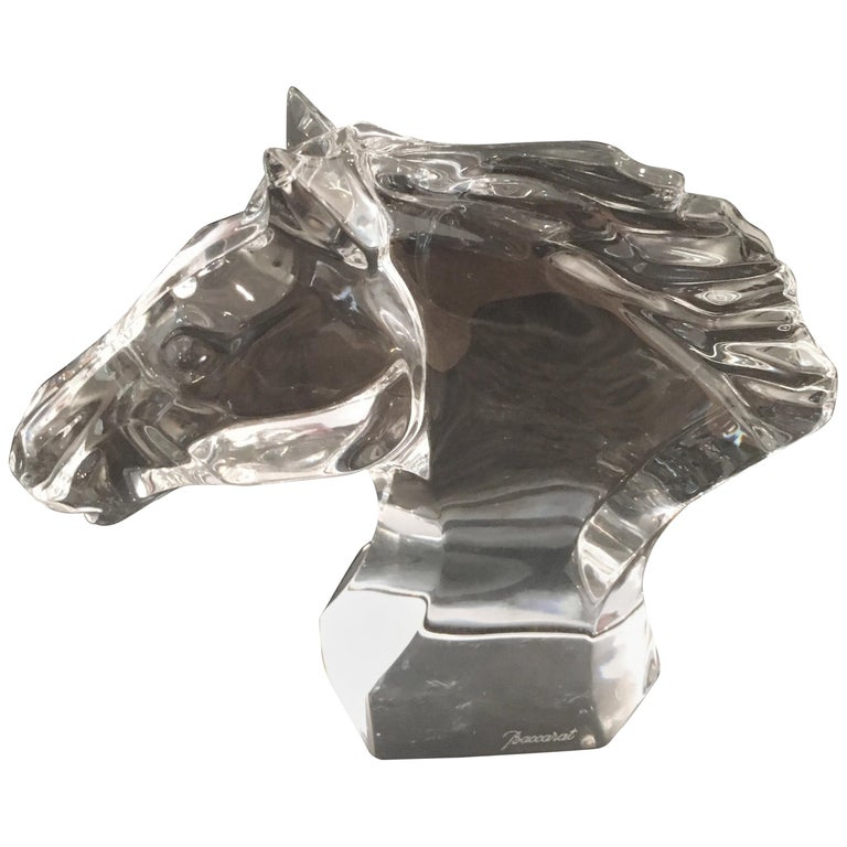 Baccarat Horse Head Sculpture Paper Weight For Sale