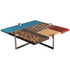 Patchwork Center Table, Modern Oriental Coffee Table with Mother-of-Pearl Inlay