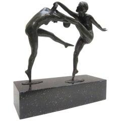1925 French Art Deco Bronze Sculpture of Dancers Signed Paul de Boulogne