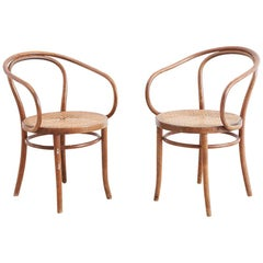 Pair of Thonet Bentwood B-9 Cane Armchairs