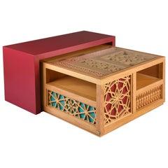 Mashrabiya Center Table, Modern Oriental Coffee Table in Arabesque Pattern Style