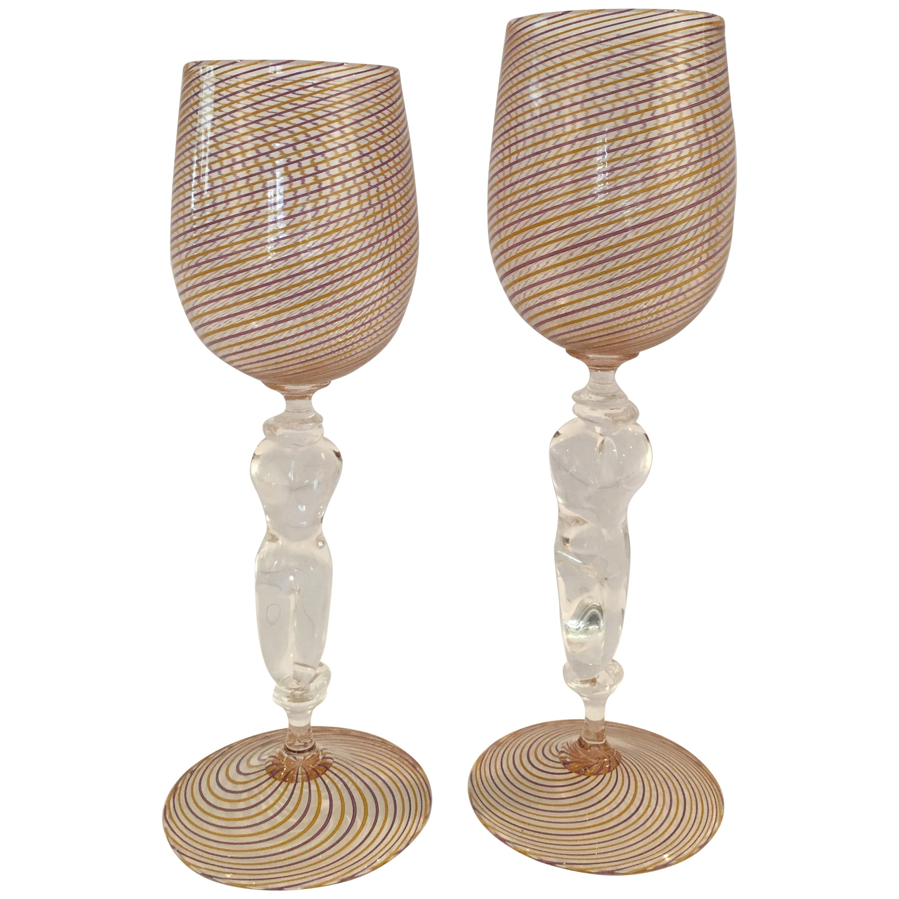Hand Blown His And Hers Stemmed Wine Glasses
