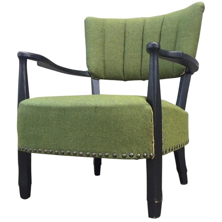 Curved Danish Easy Chair with Green Wool Upholstery, 1940s