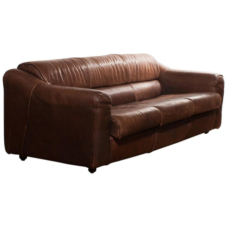 1970s Buffalo Leather Two-Seat Sofa