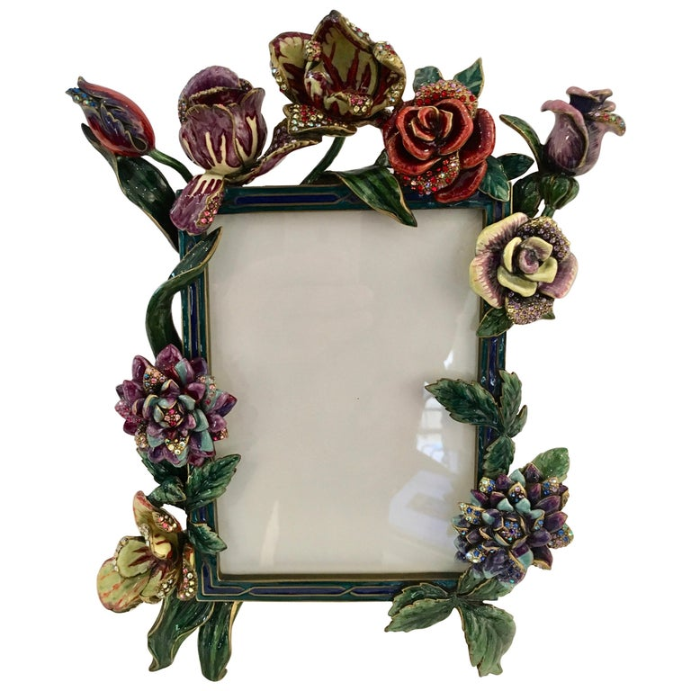 Jay Strongwater Bronze and Polychrome Enamel Photo Frame