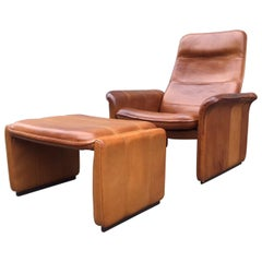 Vintage DS 50 Buffalo Leather Loungechair & Ottoman by de Sede Switzerland 1970s