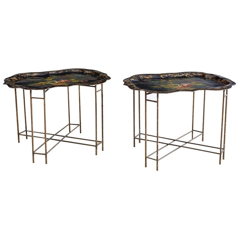 Pair of English Faux Bamboo Toleware Tray Tables