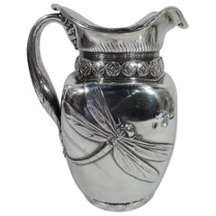 Stunning Japonesque Sterling Silver Dragonfly Water Pitcher by Whiting