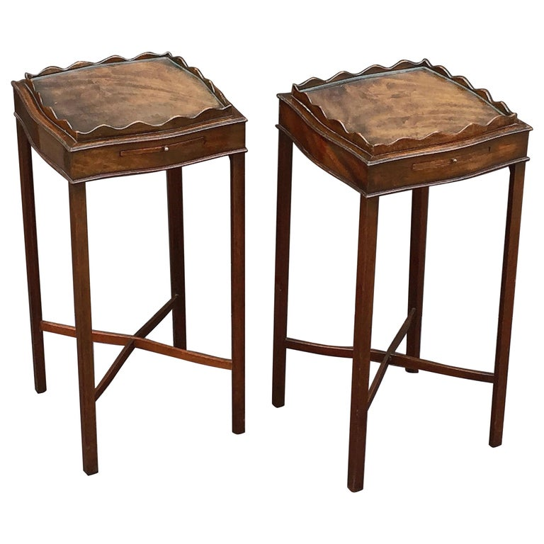 English Nightstands Or End Tables With Removable Glass