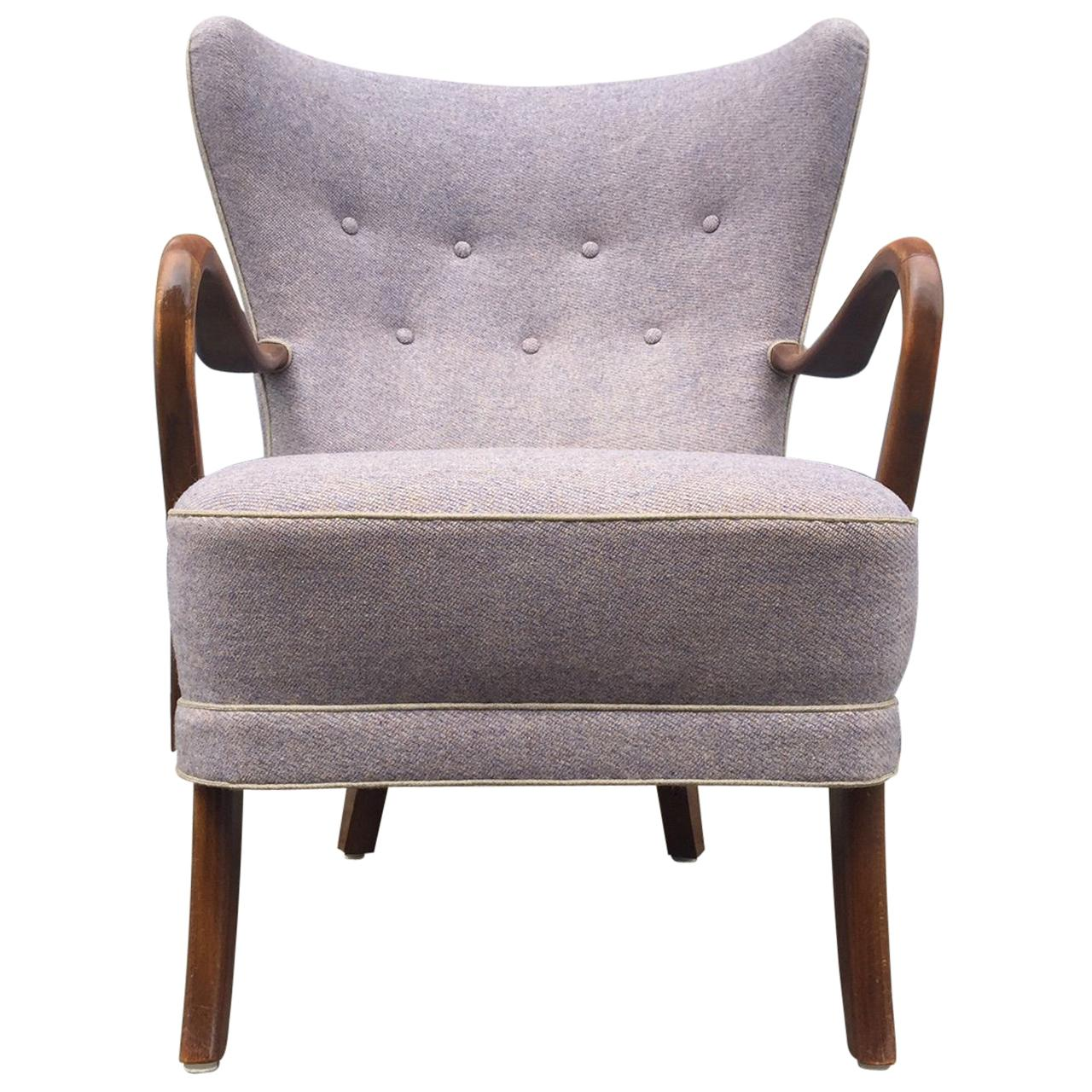 Purple Danish High Back Lounge Chair By Alfred Christensen For Slagelse For  Sale