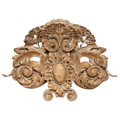 18th Century French Carved Oak Painted Wall Sculpture with Centre Shell Motif