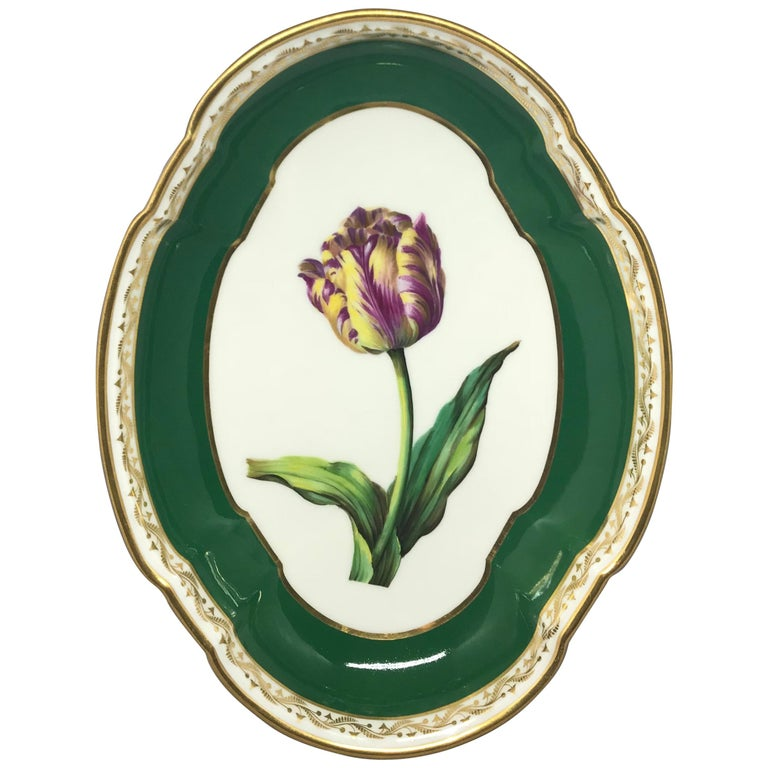 French Green and Gilt Porcelain Tulip Bowl