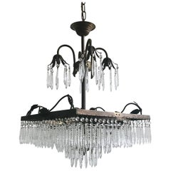 Ornate Brass Square Waterfall Chandelier