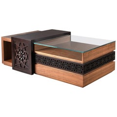 Deluxe Arabesque Coffee Table, Modern Oriental Table with Mother-of-Pearl Inlay