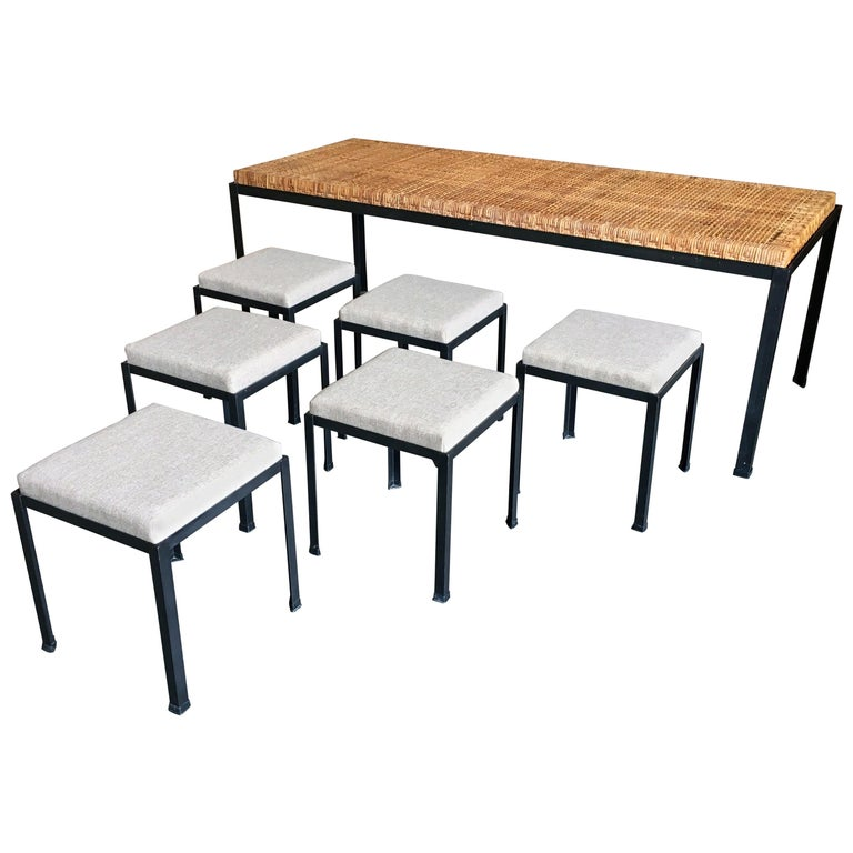 Danny Ho Fong Cane Top Table and Six Stools