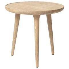 Accent Table S FSC certified Oak Wood White Matte Lacquer by Mater Design