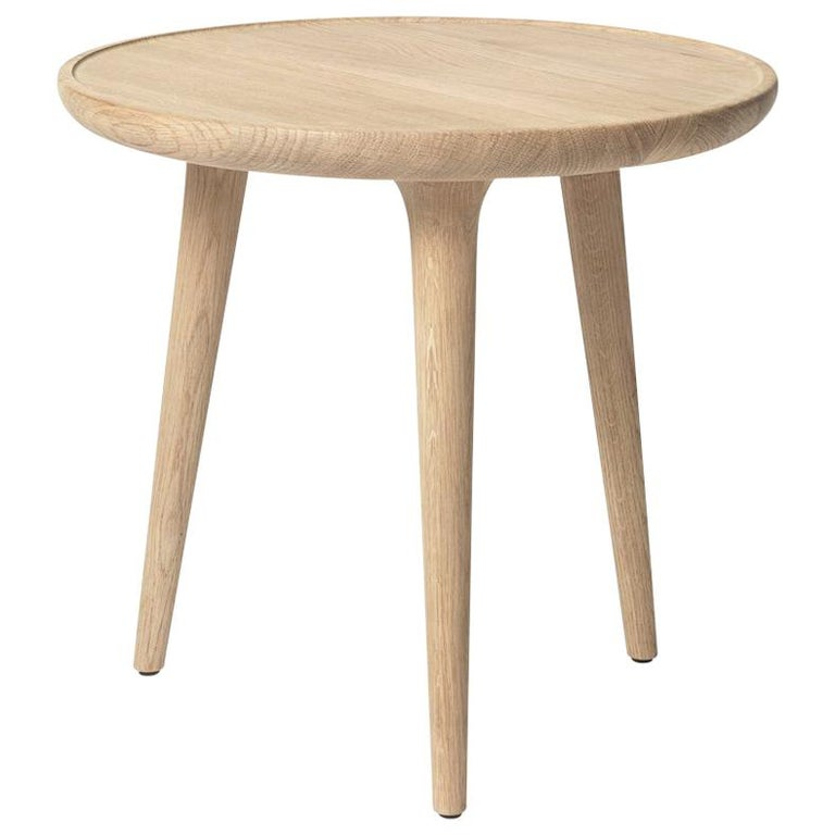 Accent Table S FSC certified Oak Wood White Matte Lacquer by Mater Design For Sale