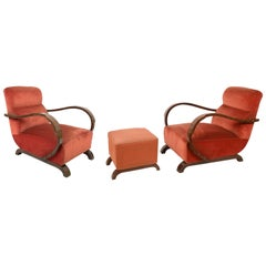 Art Deco Armchairs in Walnut and Fabric and an Ottoman, Italy, circa 1930