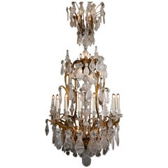 Large & Important George Hoentschel French Rock Crystal & Gilt Bronze Chandelier