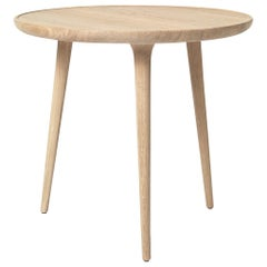 Accent Table L FSC Certified Oak Wood White Matte Lacquer by Mater Design