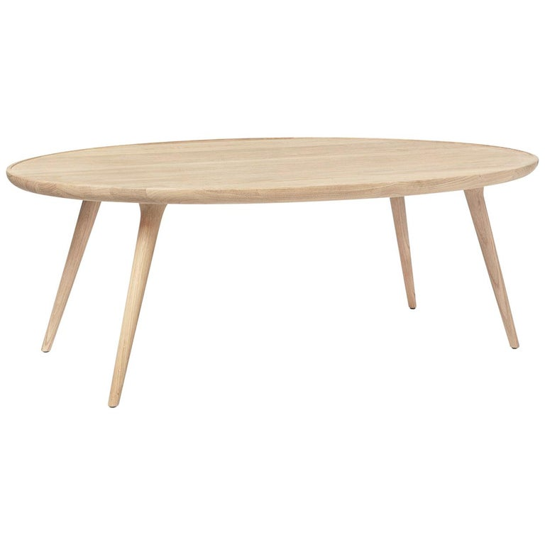Accent Oval Lounge Table FSC Certified Oak Wood Matte Lacquer by Mater Design