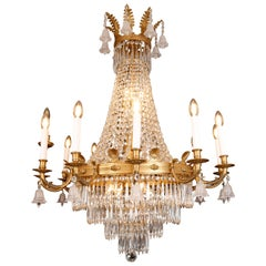 Large Tent and Waterfall Baccarat Style Chandelier, circa 1880