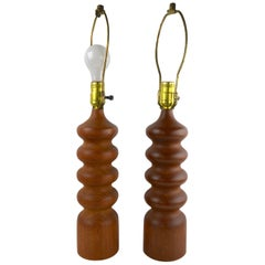 Pair of Danish Modern Turned Teak Wood Table Lamps