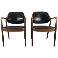 Pair of Modernist Bentwood Mahogany and Leather Chairs by Don Pettit for Knoll