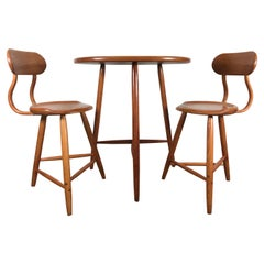 Kai Pedersen Studio Pair of Stools and Table, Breakfast Set, USA, 1983