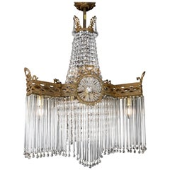 Late Victorian 'Early 20th Century' Crystal Tube & Basket Star Shaped Chandelier