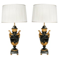 Pair of French Lamps Green Marble