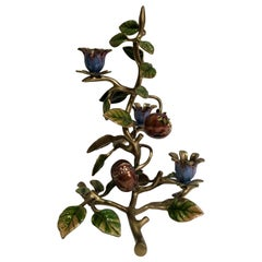 Jay Strongwater Fall Theme Autumn Candelabra with Pomegranate Polychrome Metal
