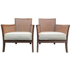 Pair of Cerused Walnut and Caned Armchairs with Leather Seats