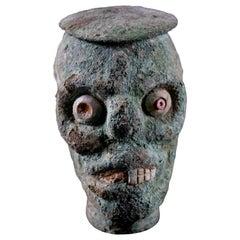 Rare Pre-Columbian Moche Copper Skull Vessel, Peru, circa 200-500 AD