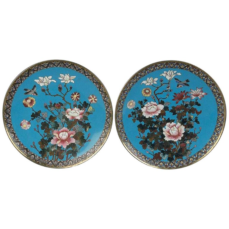 Pair of Japanese Cloisonné Meiji Period Chargers