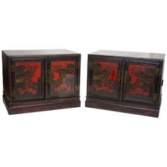Pair of Chinese Lacquer Robe Cabinets, Qing Dynasty, circa 1840