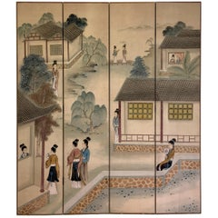 Signed Maitland-Smith Folding Silk Privacy Screen Made in Hong Kong 1979