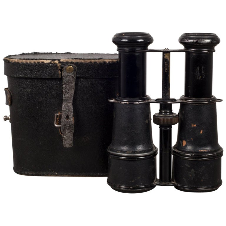 """19th Century Leather Military Binoculars """"Gieure Paris"""" and Case, circa 1880s"""
