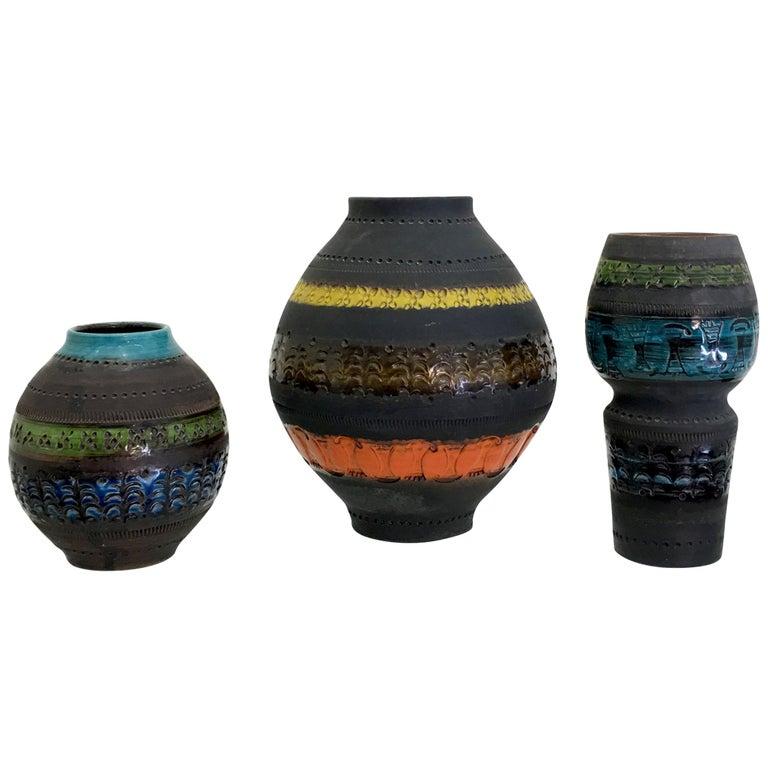 Trio Vase Suite by Aldo Londi for Bitossi for Raymor