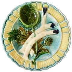 Majolica Asparagus Plate Salins, circa 1890