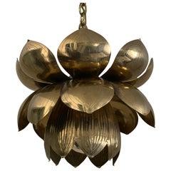 Small Brass Lotus Pendant by Feldman
