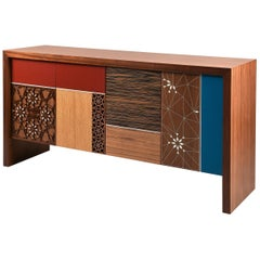 Patchwork Sideboard, Modern Oriental Cabinet Table with Mother of Pearl Inlay