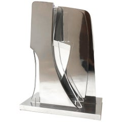 Lucite and Chrome Abstract Modern Sculpture