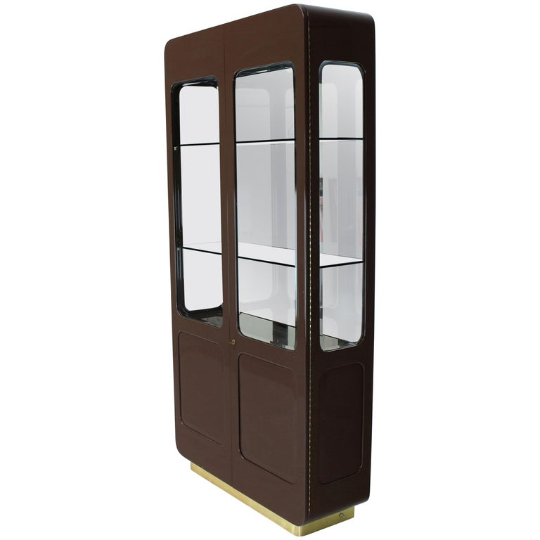Tall High Gloss Lacquer Finish Rounded Beveled Glass Display Cabinet Wall Unit