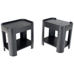 Pair of Lacquered Raffia Cloth Covered Stands End Occasional Tables Springer