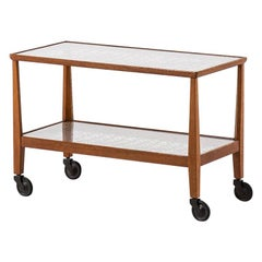 Otto Schulz Trolley in Oak, Glass and Woven Cane Produced by Boet in Sweden